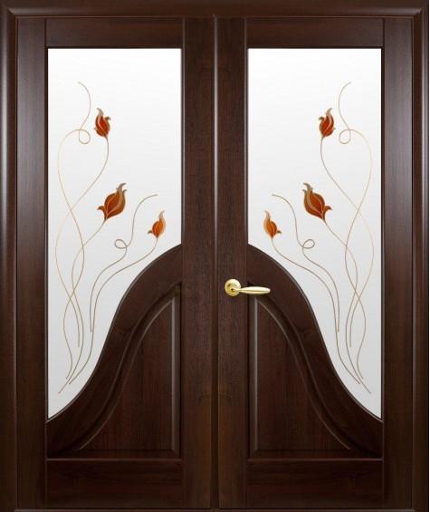 Двери межкомнатные Амата каштан двустворчатые
