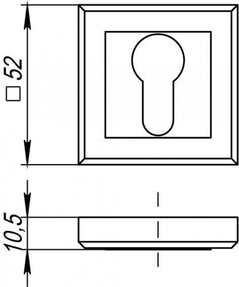 Накладка на цилиндр квадратная QL ABG бронза