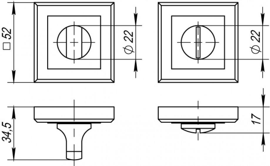 Накладка на фиксатор квадратная QL GR/CP графит/хром