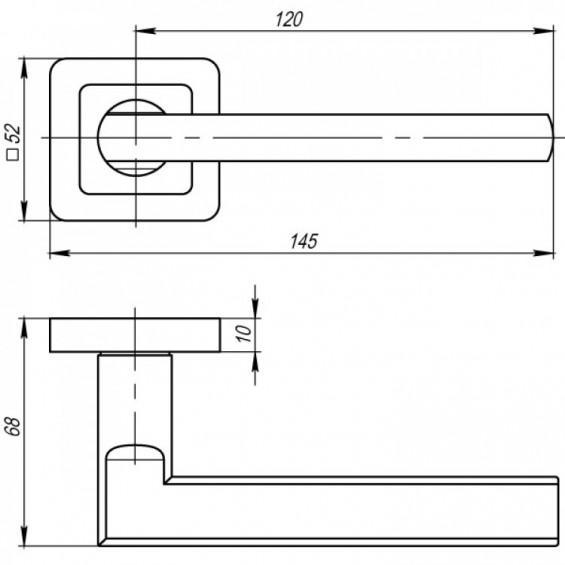 Ручка дверная BLADE матовый графит/хром