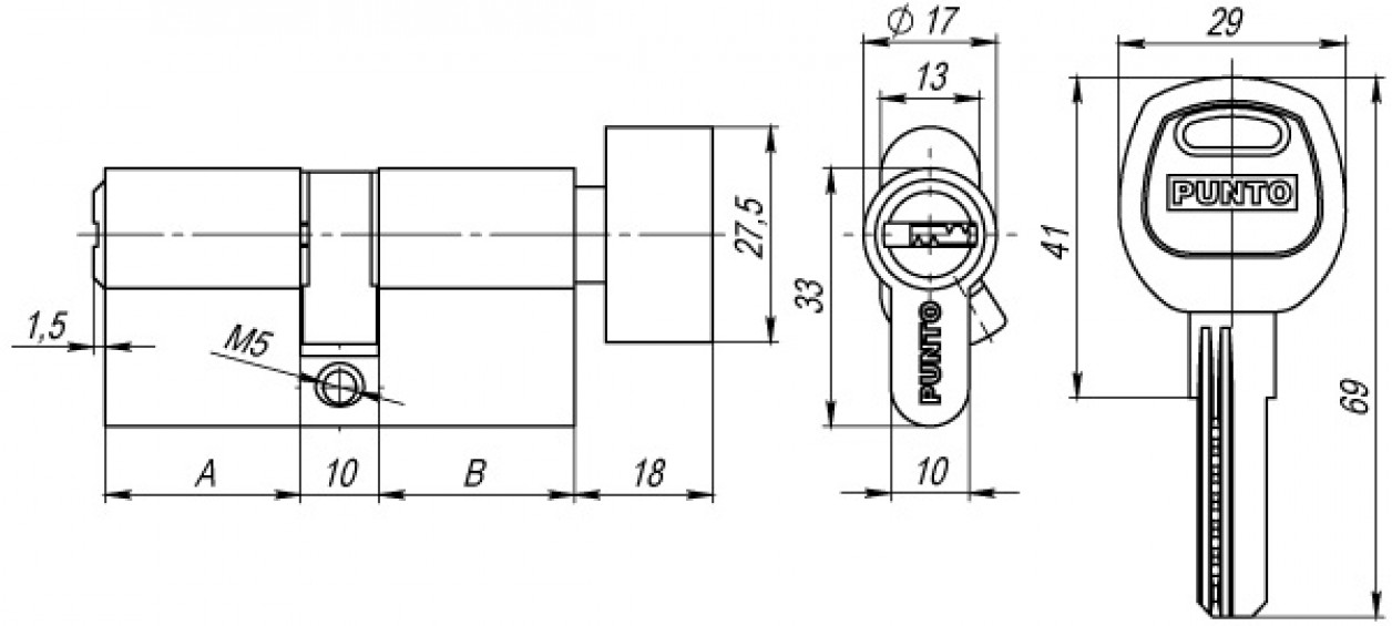 Цилиндр ключ/фиксатор сатин