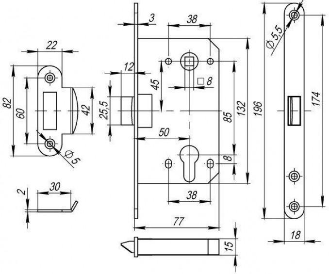 Замок под цилиндр WC Armadillo  85-50 матовый никель
