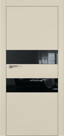 Межкомнатные двери А2 Art Vision слоновая кость черное стекло