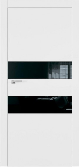 Межкомнатные двери А2 Art Vision белый мат черное стекло