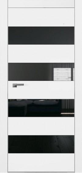 Межкомнатные двери А5 Art Vision белый мат черное стекло